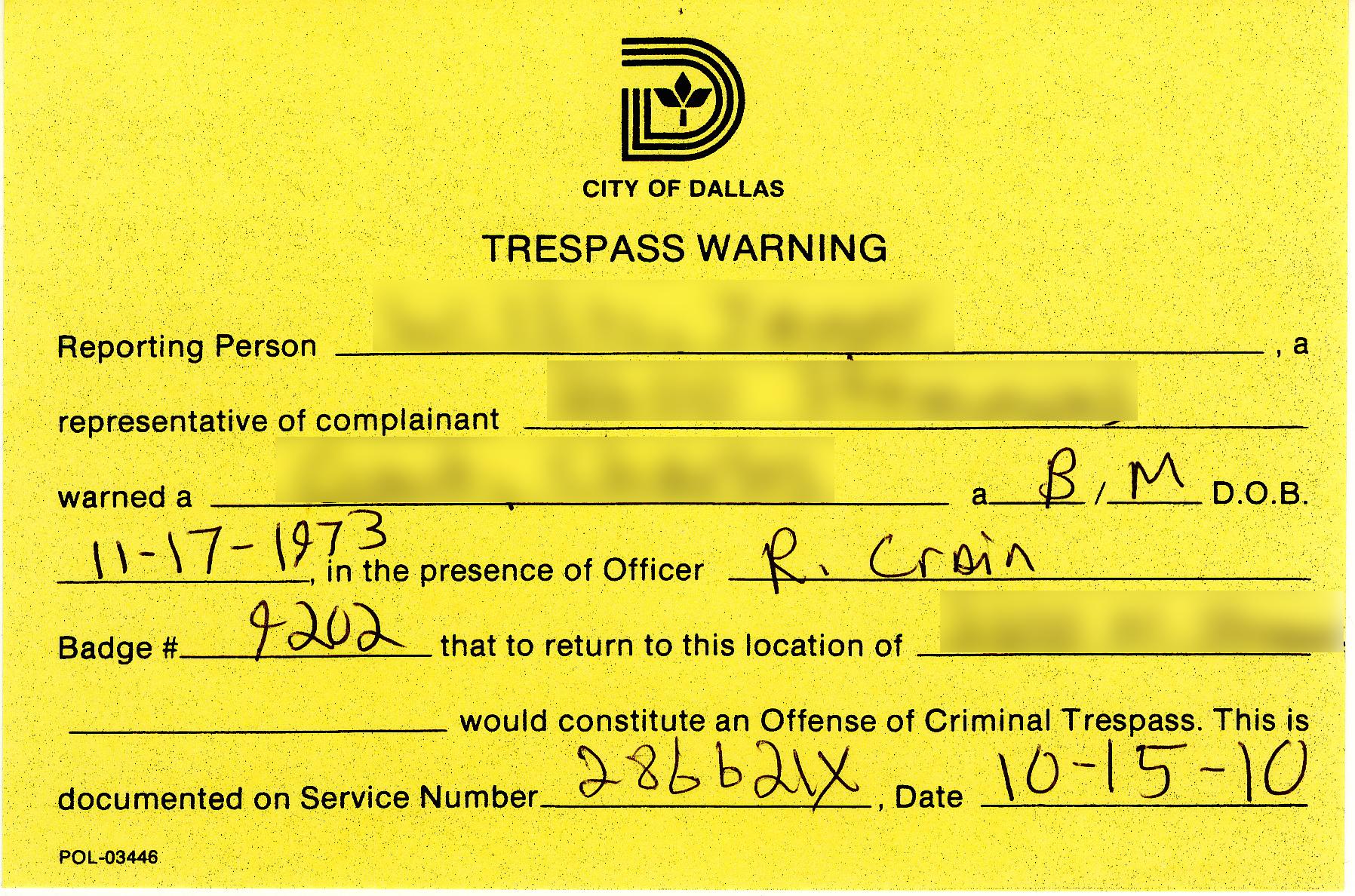 Criminal Tresspass Warning